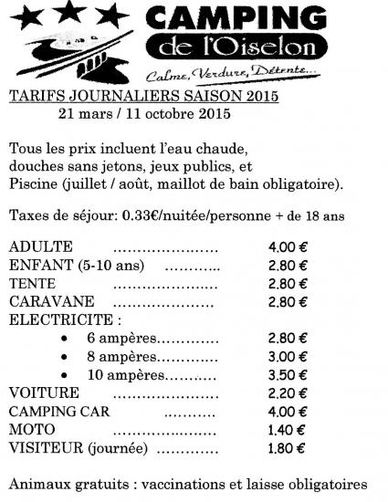 Tarifs journaliers 2015 daily prices for Tarif grosse carpe